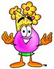 Flower Cartoon Character Wearing a Party Hat clipart