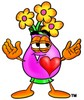 Flower Cartoon Character In Love clipart