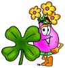 Flower Cartoon Character With a Four Leaf Clover clipart