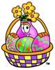Flower Cartoon Character With Easter Eggs In a Basket clipart