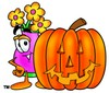 Flower Cartoon Character With a Halloween Pumpkin clipart