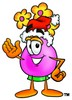Flower Cartoon Character Wearing a Santa Hat clipart