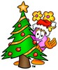 Flower Cartoon Character With a Christmas Tree clipart