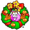 Flower Cartoon Character With a Christmas Wreath clipart