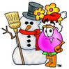 Flower Cartoon Character With a Snowman clipart