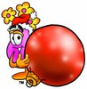 Flower Cartoon Character Holding a Christmas Ornament clipart