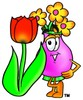 Flower Cartoon Character With a Spring Tulip clipart