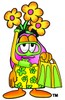 Flower Cartoon Character In Yellow Snorkel Gear clipart
