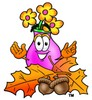 Flower Cartoon Character With Autumn Leaves and Acorns clipart