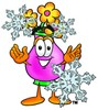 Flower Cartoon Character With Snowflakes clipart