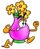 Flower Cartoon Character Running clipart