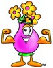 Flower Cartoon Character Flexing His Muscles clipart