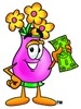 Flower Cartoon Character Holding Cash clipart