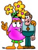 Flower Cartoon Character Talking To a Businessman clipart