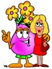 Flower Cartoon Character Talking To a Blond Woman clipart