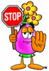 Flower Cartoon Character Holding a Stop Sign clipart