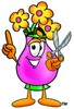 Flower Cartoon Character Holding Scissors clipart