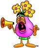 Flower Cartoon Character Screaming Into a Megaphone clipart