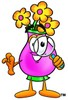 Flower Cartoon Character Looking Through a Magnifying Glass clipart