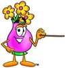 Flower Cartoon Character Holding a Pointer Stick clipart