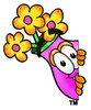 Flower Cartoon Character Spying clipart