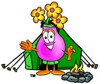Flower Cartoon Character Camping clipart