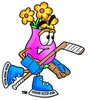 Flower Cartoon Character Playing Ice Hockey clipart