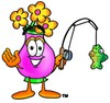 Flower Cartoon Character Fishing clipart