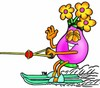 Flower Cartoon Character Water Skiing clipart
