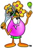 Flower Cartoon Character Playing Tennis clipart