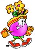 Flower Cartoon Character Speed Walking clipart