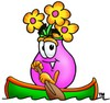 Flower Cartoon Character Rowing a Boat clipart