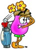 Flower Cartoon Character Golfing clipart
