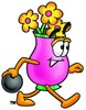 Flower Cartoon Character Bowling clipart