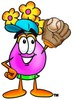 Flower Cartoon Character Playing Baseball clipart