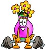 Flower Cartoon Character Lifting Weights clipart