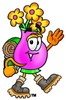 Flower Cartoon Character Hiking clipart