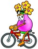 Flower Cartoon Character Riding a Bike clipart