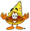 Hard Hat Cartoon Character Wearing a Party Hat clipart
