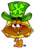 Hard Hat Cartoon Character Waring a St Patricks Day Hat clipart