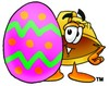 Hard Hat Cartoon Character With an Easter Egg clipart