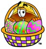 Hard Hat Cartoon Character With Easter Eggs In a Basket clipart