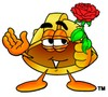 Hard Hat Cartoon Character Holding a Red Rose clipart