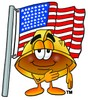 Hard Hat Cartoon Character With an American Flag clipart