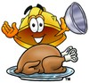 Hard Hat Cartoon Character Serving a Thanksgiving Turkey clipart