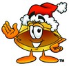Hard Hat Cartoon Character Wearing a Santa Hat clipart