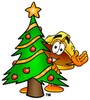 Hard Hat Cartoon Character With a Christmas Tree clipart