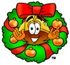 Hard Hat Cartoon Character With a Christmas Wreath clipart