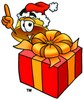 Hard Hat Cartoon Character With a Christmas Gift clipart