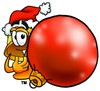 Hard Hat Cartoon Character Holding a Christmas Ornament clipart